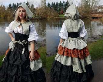 Light Blue and Copper Bustle and Hooded Vest Combo