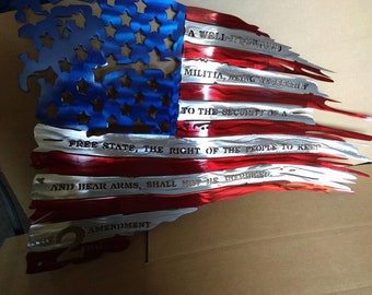 DXF file Tattered Flag with 2nd amendment in it.