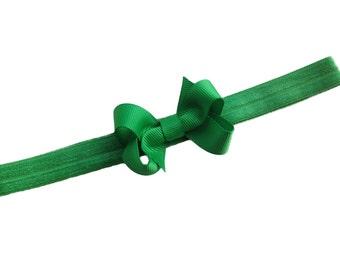Green baby headband - green bow headband, baby headband, newborn headband, baby bow headband, green headband, small bow headband, baby bows