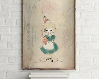Flamingo & Alice, Art for girls room, girls room decor, girls room art, art for kids room, girls wall art, art for girls, wall art for girls