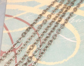 Flattened Cable Chain Soldered 3mm Antique Silver 6' AS208