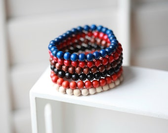 Mens wood  Bracelet - Mens Bracelet - Beaded mens Bracelet