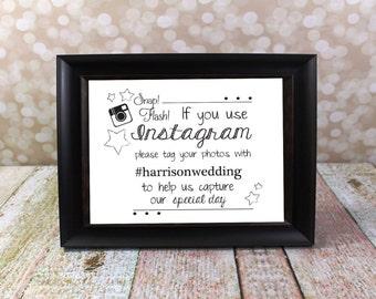 Instagram Wedding Sign with Hashtag Name.  Hashtag Card, Reception Table Card.  Reception DIY Printable, Social Media.