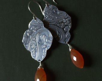 Silver Carnelian Earrings, Long Silver Paisley Earrings, Unique Silver Jewelry, Silver Dangle Earrings, Handmade Sundance Style Jewelry