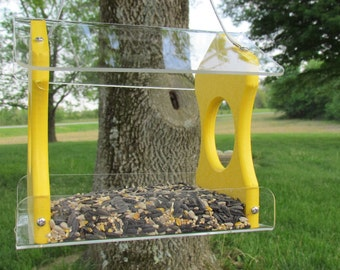 Recycled Poly Lumber Hanging Birdfeeder, Yellow, 3030Y, 3 Cup Capacity Free Shipping