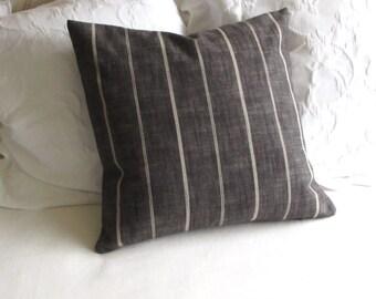 Rustic Woven charcoal black tan stripes pillow cover 13x26 18x18 20x20 22x22 24x24 26x26