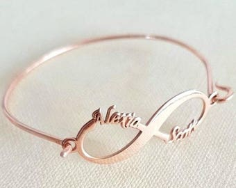 bracelet date personalized infinity present bangles sterling wedding bangle silver media anniversary