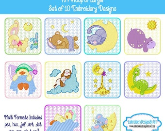 Baby Animal Quilt Block Machine Embroidery Designs - Set of 10 Instant Download Sale