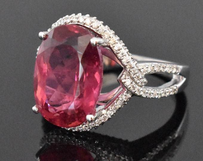 18K White Gold Pink Tourmaline and Diamond Ring | Engagement Ring | Wedding Ring | Statement Ring | Diamond Halo | Handmade Fine Jewelry