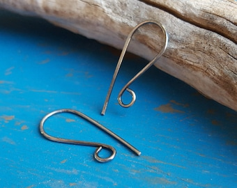 Oxidized Earwires, Sterling Silver Earring Findings, Antiqued or Gunmetal, 20g, 2 pairs Rock'n Hooks