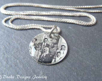 Personalized picture necklace sterling silver photo custom portrait jewelry gift for her