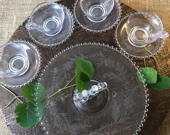 Vintage Imperial Glass Candlewick Pastry Tray with Set of Four Tea Cups and Saucers