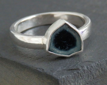 Blue tourmaline ring / blue tourmaline slice / tourmaline jewelry / tourmaline ring / watermelon slice / indicolite slice / gift for her