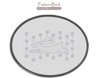 Snow Bunny. Instant Download  PDF Cross Stitch Pattern