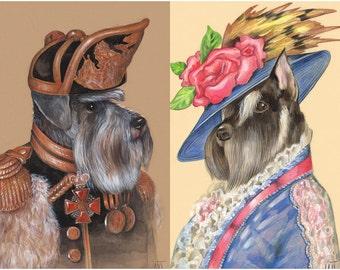 Schnauzers in Love - 2 Art Prints - the Officer and Madame - Miniature Schnauzer - Zwergschnauzer Art - Pet Portraits by Maria Pishvanova
