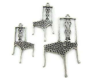 Set of Antique Silver-tone Chair Pendant and Charms