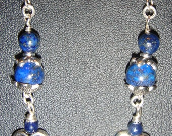 Lapis & Pewter Heart Pierced Earrings