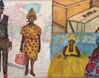 Ready to Immigrate, Oil  & Mixed Painting by Trish Vernazza
