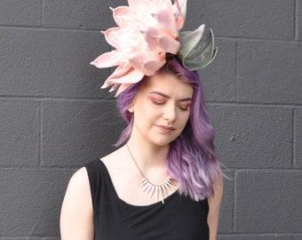 Giant Blush Pink Dahlia Fascinator