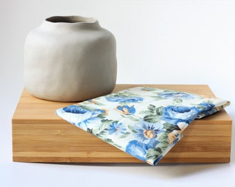 Mens Pocket Square, Wedding Pocket Square, Mens Handkerchief, Floral Pocket Square, Gift for him, Cotton Pocket Square, Blue Flower
