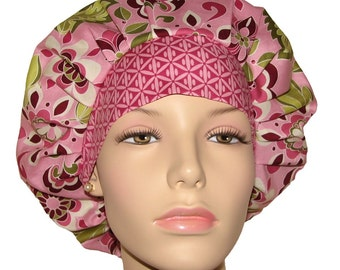 Botanique Floral In Berry Bouffant Scrub Hat For Women By ScrubHeads