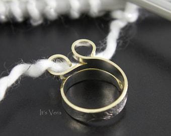 Original wide band knitting ring, Christmas ring, crochet ring, yarn ring, custom rings, stranding ring, double loop ring, multi yarn ring