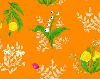 SLEEPING PORCH - Orange Bouquet - by Heather Ross for Windham Fabrics - Cotton Lawn - 42207-10