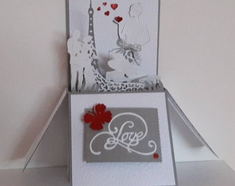 Paris wedding pop up card