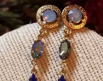 Romantic Crystal Earrings, Dangle Connector Style, Post Back Earrings, Blues, Opalescent, Pierced Earrings, Dress Accessory, Romantic Style