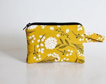 makeup bag,Coin purse, pocket wallet, Change purse, cash wallet, mini, earbud case, cotton plant, boho wallet,Mustard, Yellow zipper pouch,