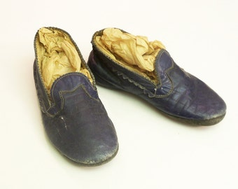 Beautiful Little Blue Leather Antique Handmade Child's Shoes