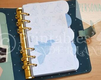 Personal dividers set for personal size planner digital download geometric hummingbird origami pattern, cobalt blue