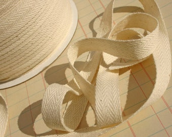 """Cotton Twill Trim Tape Cream - Sewing Shipping Packaging - 1/2"""" Wide"""