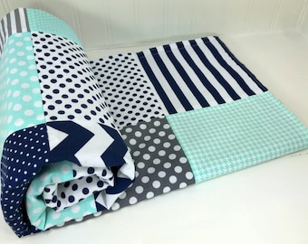 Baby Blanket Minky Baby Blanket Baby Quilt Baby Shower Gift Patchwork Quilt Nursery Decor Mint Navy Blue Gray Grey White Baby Boy