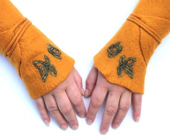 Gauntlets in mustard color Unique handmade felt Gauntlets hot transition to wrap wrapping arm warmers wrist warmers cuffs cuffs cuff