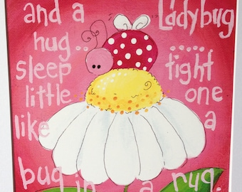 Sleep Tight- Ladybug - Art Print - 8x10 with white matte included