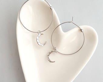 Crescent Moon Hoop Earrings,Silver Crescent Moon Hoop Earrings,Moon Hoop Earrings,Hoop Earrings,Silver Hoop Earring,Hammer Moon Hoop Earring