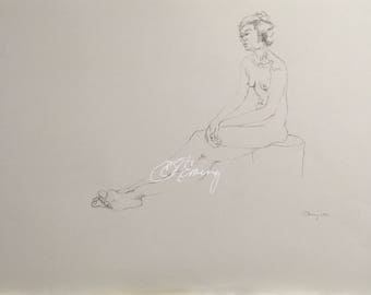 life drawing of seated female figure