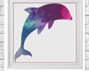 Galaxy Dolphin Counted Cross Stitch Chart