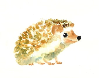 HEDGEHOG by DIMDI Original watercolor painting 10X8inch xxxxAll the animals that you wantxxxx