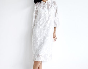 Summer White Silk Shirt Dress,Jacquard Flower Embroidery,Oversized Shirt dress,Translucent Silk Dress
