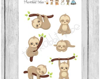 Mini Sticker Sheet - sweet sloths - planner stickers