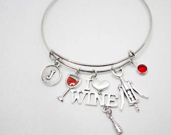Christmas sales gift  Wine charm bracelet stocking stuffer for Personalized Gift for Wine Lover Gift Wine glass Mom Her Him I Love Wine