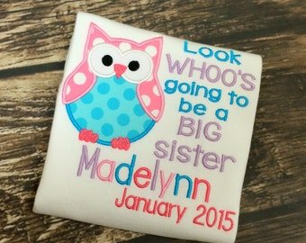 Sibling Shirt, Look Who's going to be big Sister FREE Personalization