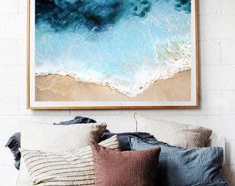 Aerial Beach Original Acrylic Painting - Aerial Photography, Beach Art, Wall Art, Home Decor, Tropical