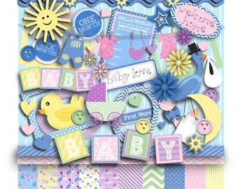 Hello Baby Digital Clip Art Kit Pastels