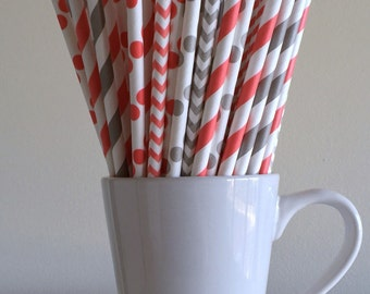 Coral and Gray Paper Straws Coral and Grey Striped, Chevron, Polka Dot Party Supplies Party Decor Bar Cart Cake Pop Sticks Graduation