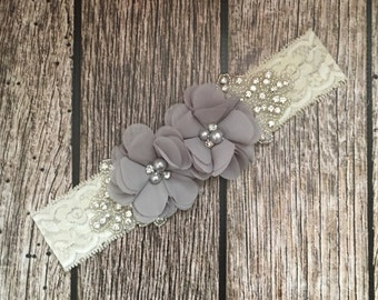 Grey headband, rhinestone headband, flower girl headband, vintage headband, lace headband, rhinestone and pear, flower girl