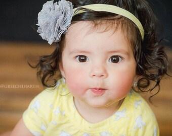 Gray & Yellow Headband for Baby Girl - Lace Tulle Elastic - Flower Headband - baby headband - girl headband - Grey Wedding Yellow
