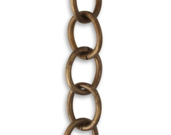 Choose Length 8.7mm Rounded Oval Chain, Natural Brass Chain, Vintaj Item CH0011